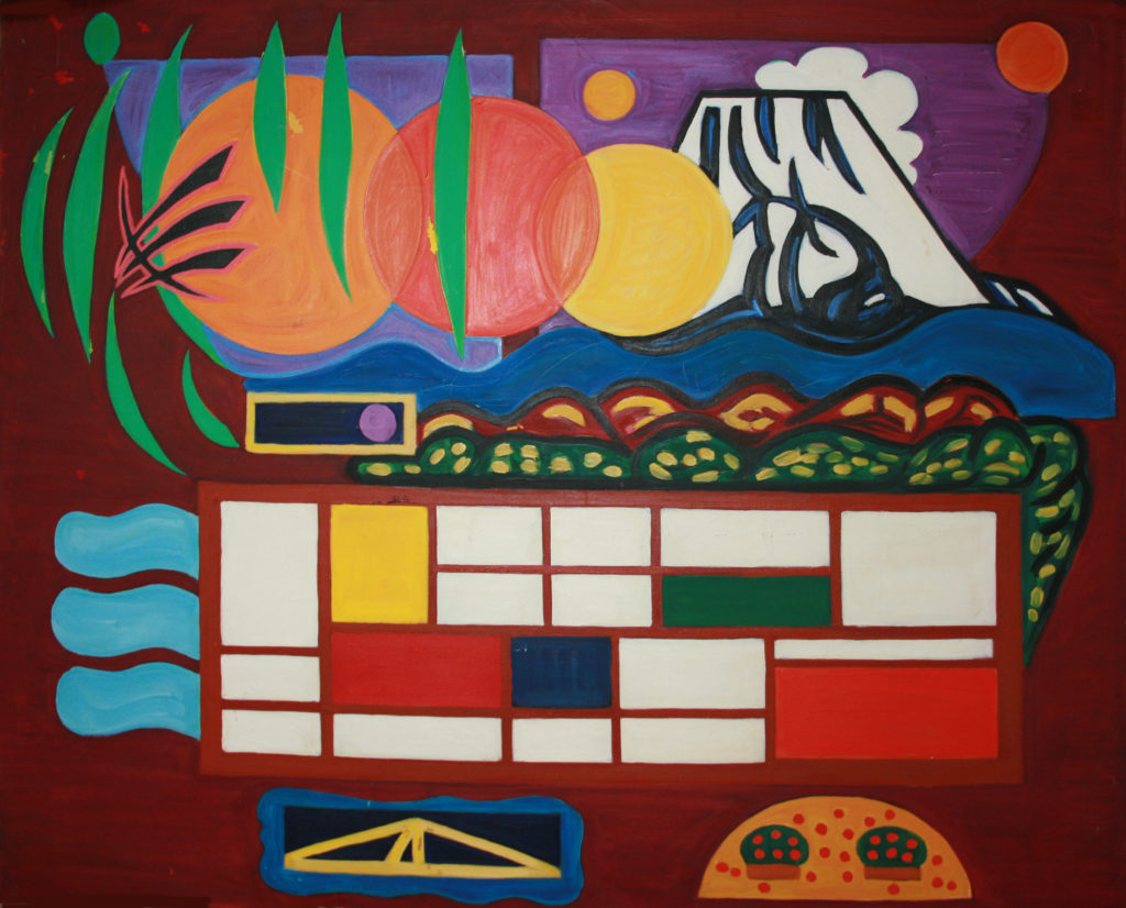 This is the first large scale painting I ever did.it's an F100 oil painting. It was painted in 1992 when I wanted to quit the programming school I was working at and concentrate on creating art works. There doesn't seem to be a title for this art work. Let's call it 'Composition I'. I'm planning to sell it.