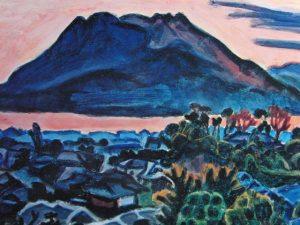 Ryuzaburiu Umehara printing Sakurajima blue
